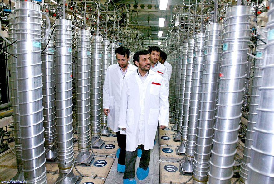 Iranian President Mahmoud Ahmadinejad visits the Natanz uranium-enrichment facility about 200 miles south of the capital, Tehran, in April 2008. (Associated Press)