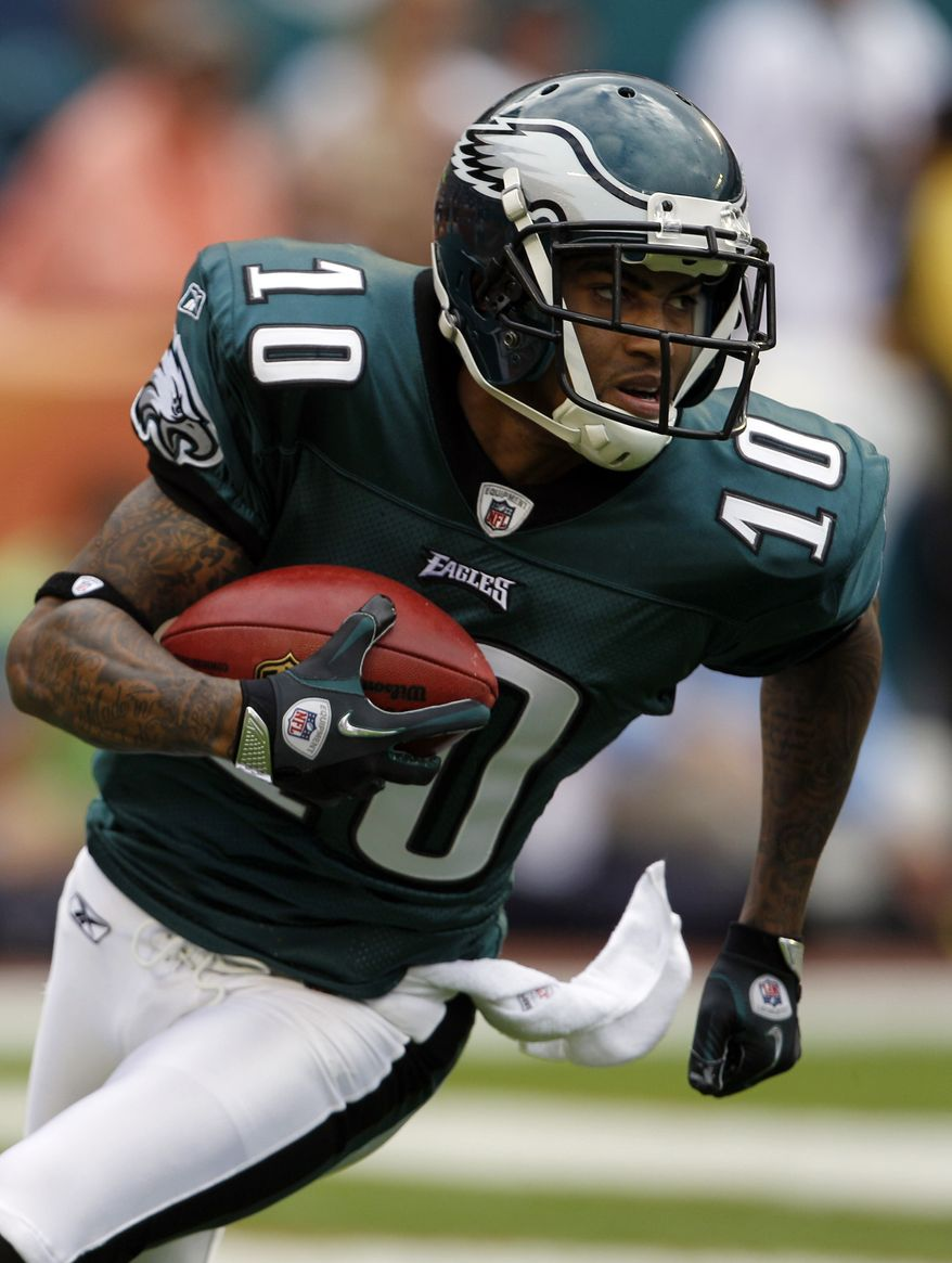 FILE - In this Dec. 11, 2011, file photo, Philadelphia Eagles wide receiver DeSean Jackson (10) runs during the first half of an NFL football game against the Miami Dolphins in Miami. The Eagles on Thursday, March 1, 2012, placed the franchise tag on wide receiver DeSean Jackson. (AP Photo/Lynne Sladky, File)