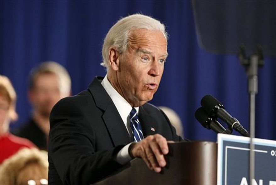 ** FILE ** Vice President Joe Biden speaks at a union hall in Toledo, Ohio, Thursday March 15, 2012. (AP Photo/Madalyn Ruggiero)