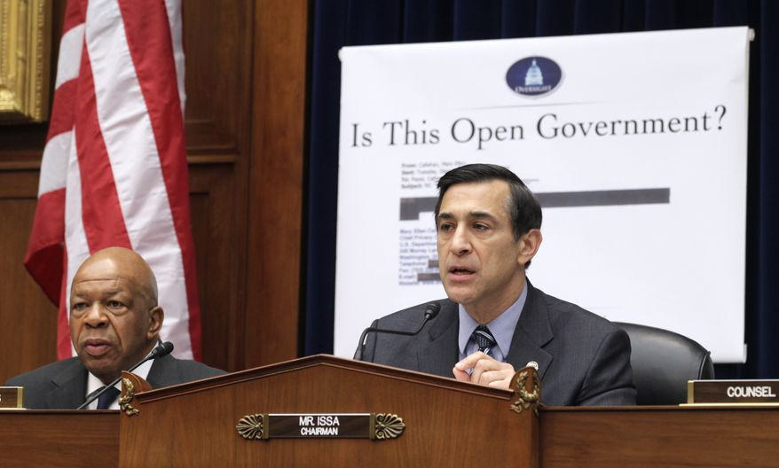 ** FILE ** In this March 31, 2011, file photo House Oversight and Government Reform Committee Chairman Rep. Darrell Issa, Caliornia Republican, right, accompanied by the committee's ranking Democrat Rep. Elijah Cummings, Maryland Democrat, presides over the committee's hearing on the Freedom of Information Act on Capitol Hill. (AP Photo/Carolyn Kaster, File)