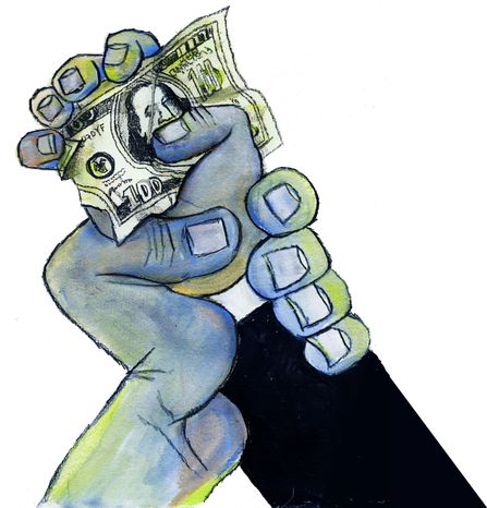 Illustration: Greed by John Camejo for The Washington Times