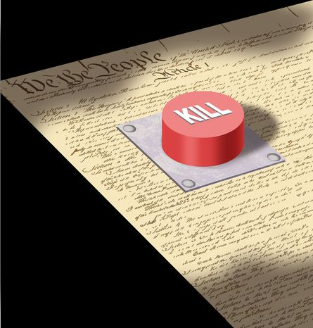 Illustration: Constitutional kill by Alexander Hunter for The Washington Times