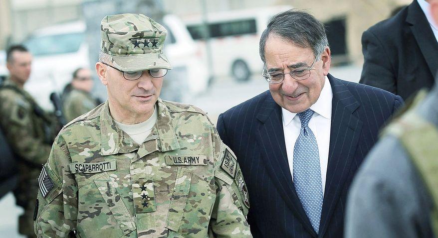** FILE ** Lt. Gen. Curtis Scaparrotti (left) and Defense Secretary Leon E. Panetta (Associated Press)
