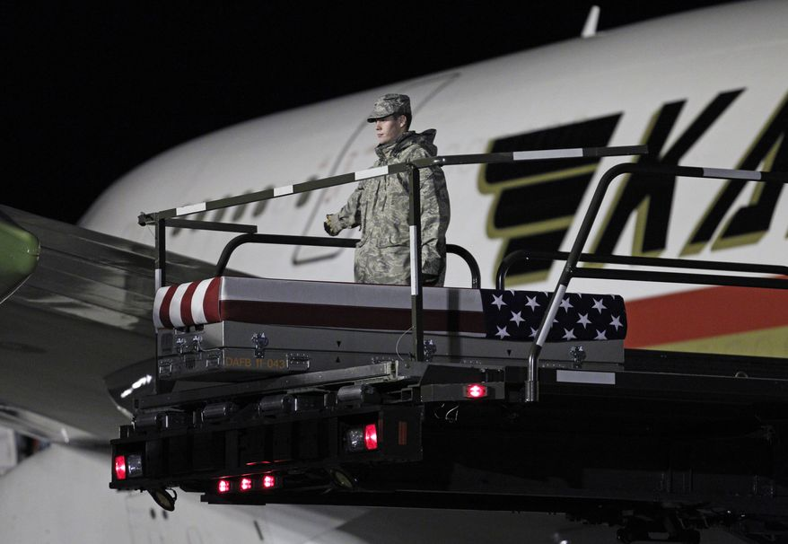 The transfer case containing the remains of Marine Lance Cpl. Edward J. Dycus, 22, of Greenville, Miss., sits Feb. 2, 2012, at the end of the loader ramp upon arrival at Dover Air Force Base in Dover, Del. An Afghan soldier shot and killed Dycus at an outpost in southwestern Afghanistan in February in a previously undisclosed case of Afghan treachery, Marine officials said. (Associated Press)