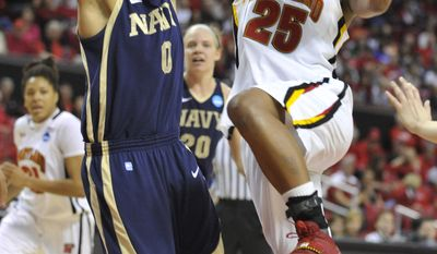 Maryland's Alyssa Thomas shoots as Navy's Alix Membreno defends during the second half of an NCAA tournament first-round women's college basketball game Saturday, March 17, 2012, in College Park, Md. (AP Photo/Gail Burton)