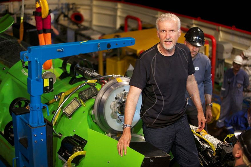 """""""It's the last frontier for science and exploration on this planet,"""" said film director James Cameron of the Mariana Trench, seven miles down in the western Pacific. Entrepreneur Richard Branson and former Google CEO Eric Schmidt are planning their own separate trips to explore the trench in deep-water submersibles. (National Geographic via Associated Press)"""