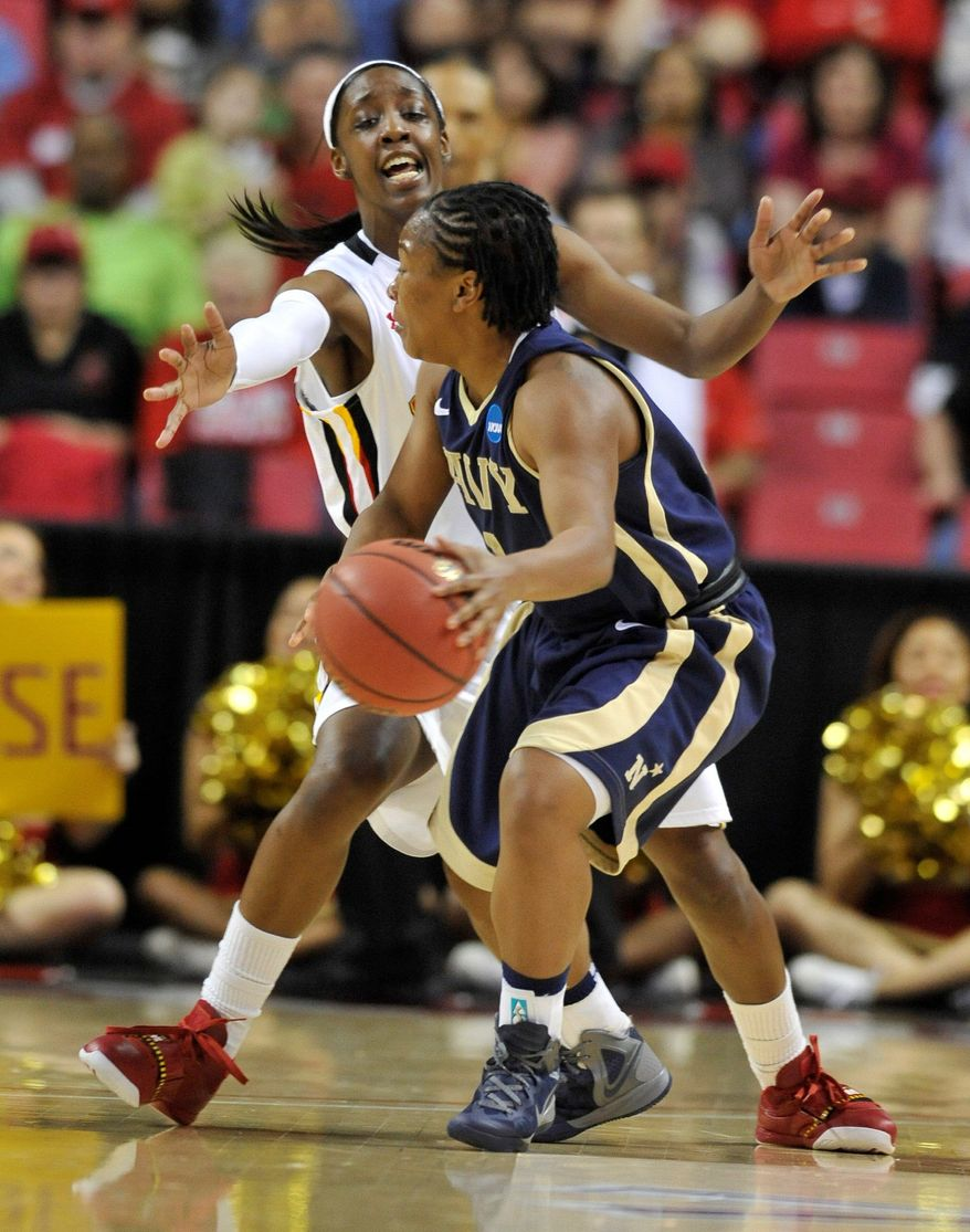 ASSOCIATED PRESS Maryland's Laurin Mincy, shown defending Navy's Chantel Lavender in the first round, and her Terps teammates will look to put the squeeze on Louisville on Monday night.