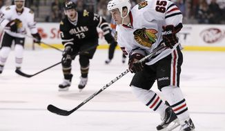 Chicago Blackhawks forward Andrew Shaw, pictured in a game against the Dallas Stars, had two goals and an assist against the Washington Capitals on Sunday. (AP Photo/Tony Gutierrez)