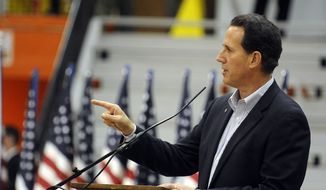 Republican presidential candidate Rick Santorum speaks during a campaign appearance at Herrin High School in Herrin, Ill., on Saturday, March 17, 2012. (AP Photo/Alan Rogers, The Southern)