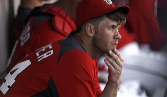 Washington Nationals' Bryce Harper sits on the bench against the Detroit Tigers during a spring training baseball game in Viera, Fla., Sunday, March 18, 2012. Harper was 1-for-5 with four strikeouts and a double. (AP Photo/Paul Sancya)
