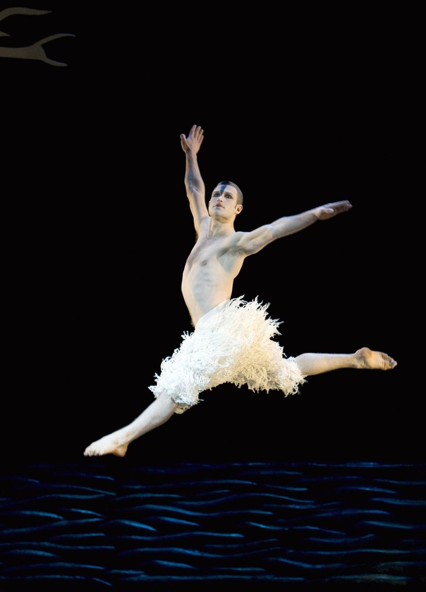 """""""The astonishing thing about the 3-D is that it gives a sense of space. Suddenly you can feel the space between people,"""" said choreographer Matthew Bourne about his film presentation of """"Swan Lake,"""" with Richard Winsor as the lead Swan/Stranger. (New York City Center via Associated Press)"""