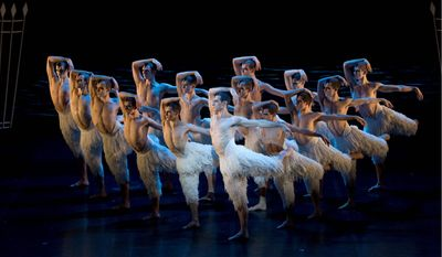"""The cast performs Matthew Bourne's version of """"Swan Lake,"""" which leaps to 3-D on movie theater screens with showings in Alexandria, Arlington and Columbia, Md, on Tuesday. (Bill Cooper via Associated Press)"""