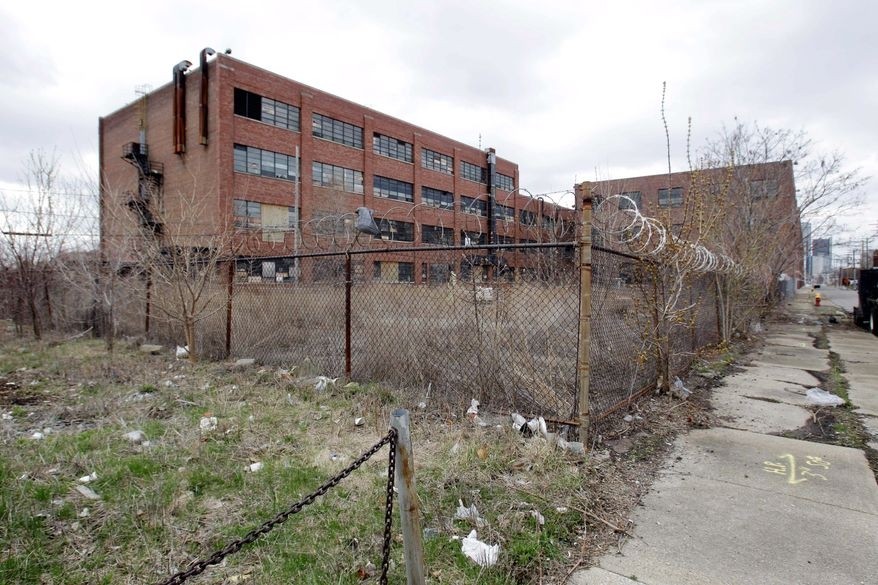 A vacant warehouse in Detroit is emblematic of the Motor City's financial woes. (Associated Press)