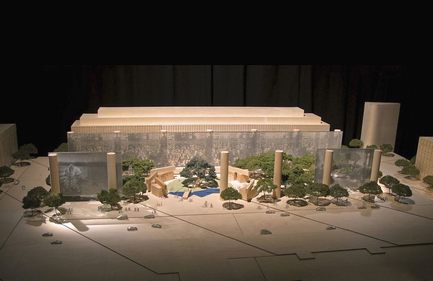 This artist rendering provided by the Eisenhower Commission shows a model for the national memorial to be built in Washington for President Eisenhower. President Eisenhower's family wants to halt the planning of a memorial honoring the 34th president because they object to the design. (Associated Press)