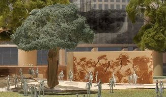 This image provided by Gehry Partners shows the Eisenhower Memorial Pedestrian Experience. Planners of a memorial honoring Dwight D. Eisenhower respond to criticism that the Frank Gehry design puts too much emphasis on Eisenhower's rural Kansas roots and not enough on his achievements as a military hero and president. (Associated Press)