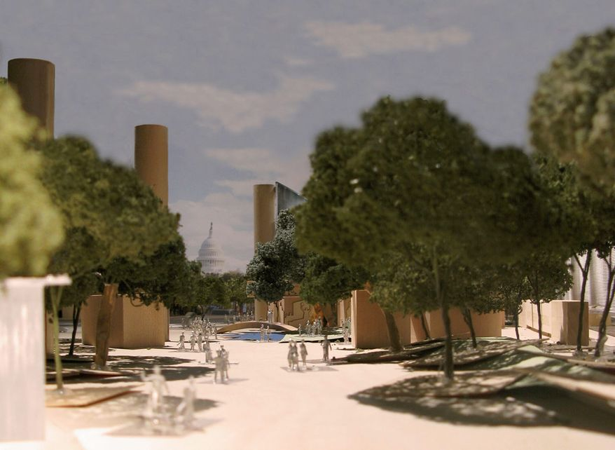 This artist rendering provided by the Eisenhower Commission shows a model for the national memorial in Washington for President Eisenhower. Vocal opposition to the memorial's design, led by Eisenhower family members, has threatened to derail the $100 million project in large part because the lone statue inside the memorial area depicts Eisenhower as a boy. (Associated Press)