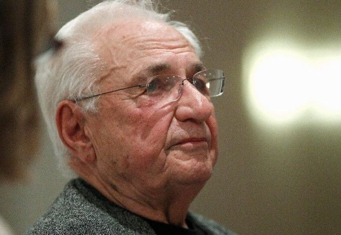 Renowned architect Frank Gehry talks in October about his concept for an Eisenhower memorial to be built near the National Mall in Washington. (Associated Press)