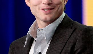 """FILE - In this Jan. 11, 2012 file photo, actor Ashton Kutcher speaks during the panel discussion for the sitcom """"Two and a Half Men"""" at the Television Critics Association Winter Press Tour for CBS, the CW and Showtime in Pasadena, Calif. British billionaire Richard Branson announced that Kutcher will be the 500th customer to go into space. Kutcher is among dozens of Hollywood types, international entrepreneurs, scientists, space buffs and others who have made deposits to be among the first to reach the edge of the Earth on Branson's Virgin Galactic spaceline.(AP Photo/Jason Redmond, file)"""