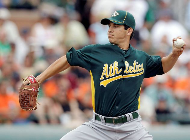 Left-hander Tommy Milone is reminiscent of Tom Glavine, according to Oakland manager Bob Melvin. The Washington Nationals traded Milone, right-hander Brad Peacock, catcher Derek Norris and pitcher A.J. Cole to the Athletics for left-hander Gio Gonzalez in December. (Associated Press)