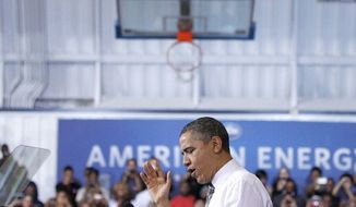 President Obama delivers remarks on energy last week in Largo. He will discuss the Keystone pipeline and Solyndra in four states over the next few days. (Associated Press)