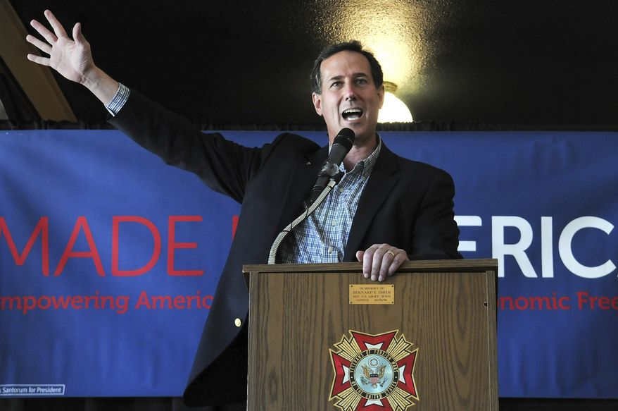 Republican presidential candidate, former Pennsylvania Sen. Rick Santorum speaks during a campaign stop in downtown Moline, Ill., on Monday, March 19, 2012. (AP Photo/The Dispatch, Paul Colletti)