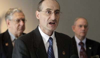 New Hampshire state Rep. David Bates, a Republican, speaks on Tuesday, March 13, 2012, in Concord, N.H.,  about his bill to repeal the state's gay-marriage law. (AP Photo/Jim Cole)