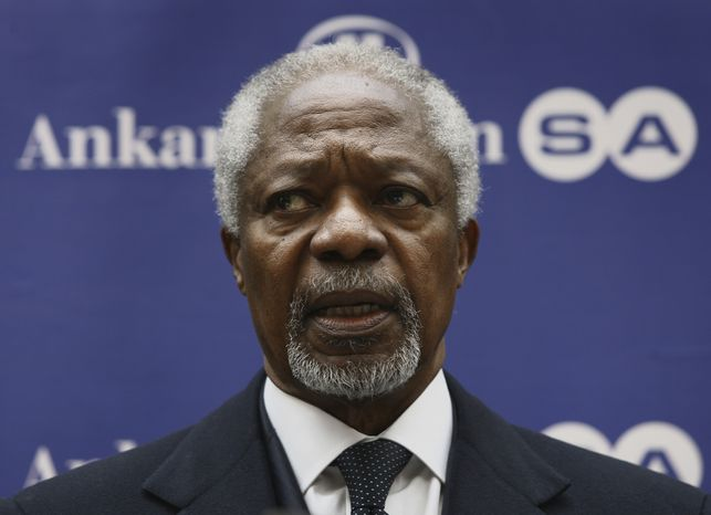 ** FILE ** U.N. peace envoy Kofi Annan speaks to the media after a meeting with Syrian National Council members in Ankara, Turkey, on Tuesday, March 13, 2012. (AP Photo)