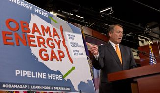 House Speaker John Boehner of Ohio gestures during a news conference on Capitol Hill in Washington, Thursday, March 22, 2012, to criticize President Barack Obama's energy policies. (AP Photo/J. Scott Applewhite)