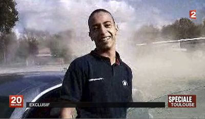 This undated and unlocated frame grab provided Wednesday, March 21, 2012, by French TV station France 2 shows Mohammad Merah, the suspect in the killing of 3 paratroopers, 3 children and a rabbi in recent days in France. (AP Photo/France 2)
