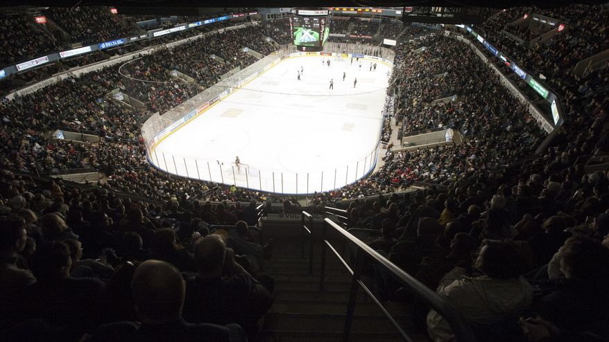 Fans fill the approximately 9,100 seats at the John Labatt Centre to watch their hometown junior hockey club, the London Knights, play against the visiting Oshawa Generals in London, Ontario, Canada on Friday March 2, 2012. (Craig Glover/Special to The Washington Times)