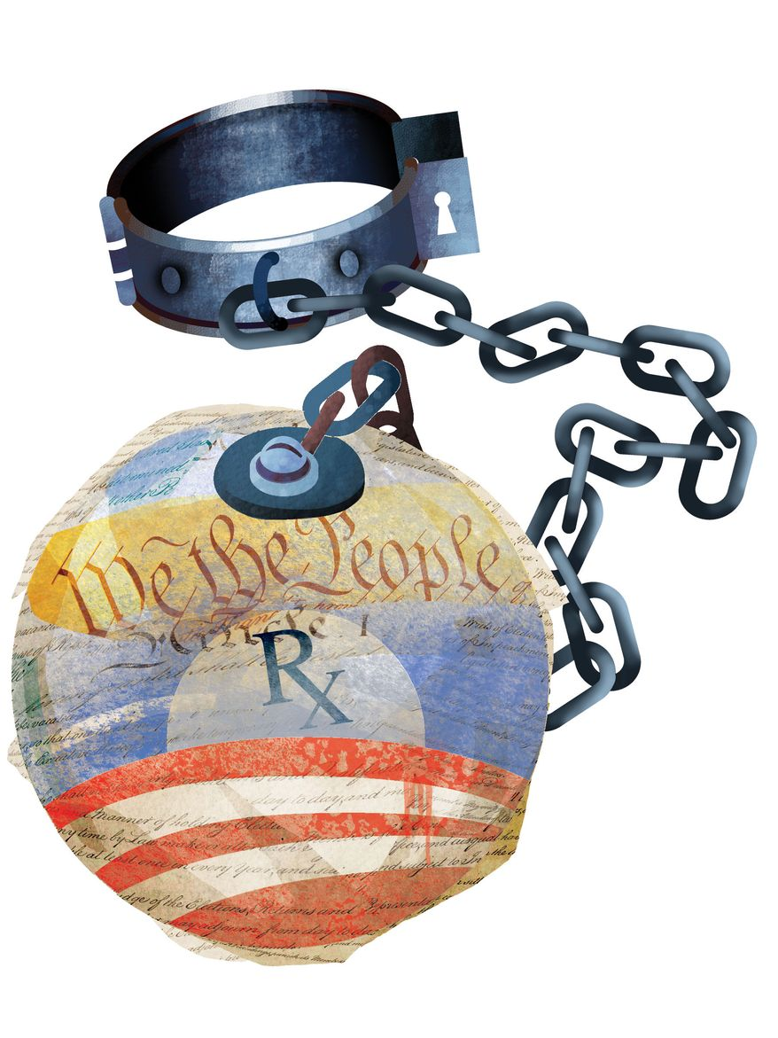 Illustration: Obamacare by Linas Garsys for The Washington Times