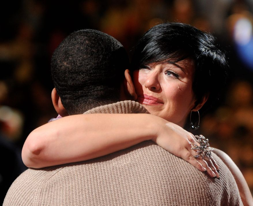 """In this image released by Fox, contestant Erika Van Pelt, is consoled by a fellow contestant on """"American Idol,"""" Thursday, March 22, 2012 in Los Angeles after she was eliminated from the Fox singing contest. (AP Photo/Fox, Michael Becker)"""