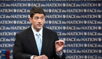 """This is a sharp, clear difference with two different futures,"" House Budget Chairman Paul Ryan, Wisconsin Republican, said Sunday on CBS's ""Face the Nation"" of the debt-slashing GOP budget plan. It would slice $5.3 billion from President Obama's budget in the coming decade through tax reforms and sweeping program cuts. (CBS News via Associated Press)"