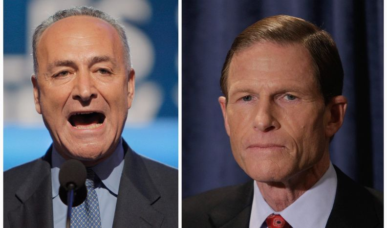 Democratic Sens. Charles E. Schumer of New York (left) and Richard Blumenthal of Connecticut are calling for investigations into whether employers asking for Facebook passwords during job interviews are violating federal law. (Associated Press)