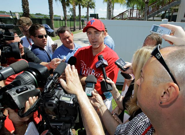 ASSOCIATED PRESS Phillies second baseman Chase Utley, a five-time All-Star, didn't play his first game last season until May 23 because of knee injuries. He'll miss all of spring training this season and at least Opening Day.