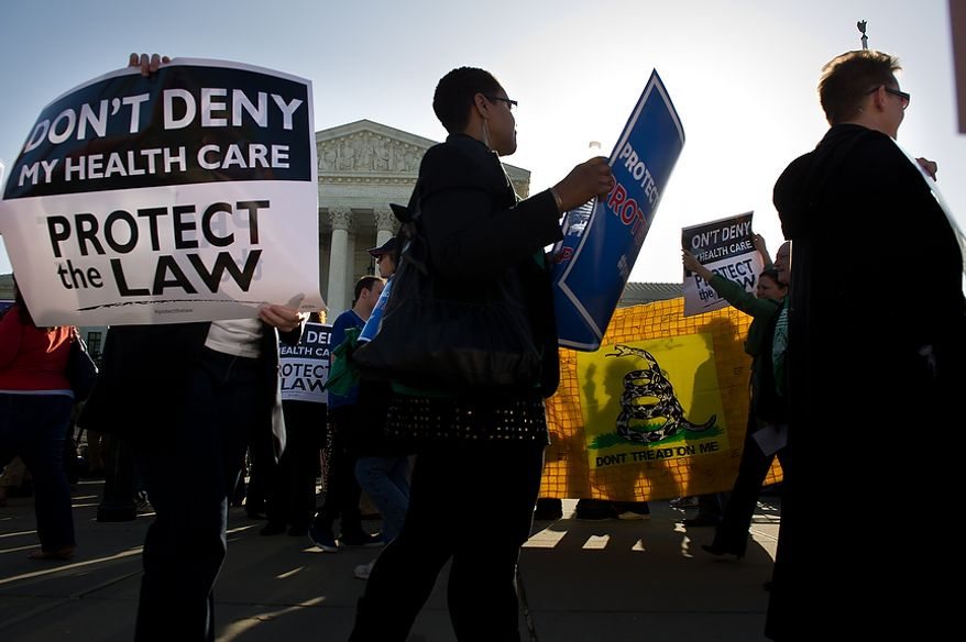 Protesters on both sides of the Affordable Care Act demonstrate March 26, 2012, outside the U.S. Supreme Court building in D.C., as the court hears oral arguments on the challenges to the Affordable Care Act. (Andrew Harnik/The Washington Times)