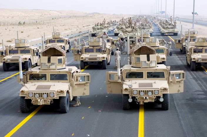 **FILE ** U.S. military vehicles in Kuwait being returned to the U.S. (Army photograph)