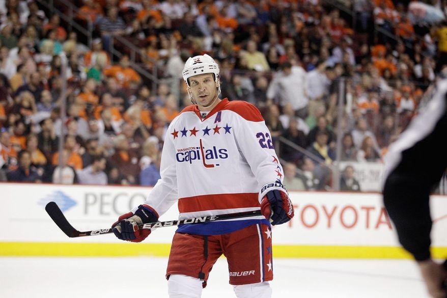 Washington Capitals' Mike Knuble during an NHL hockey game against the Philadelphia Flyers, Thursday, March 22, 2012, in Philadelphia. (AP Photo/Matt Slocum)