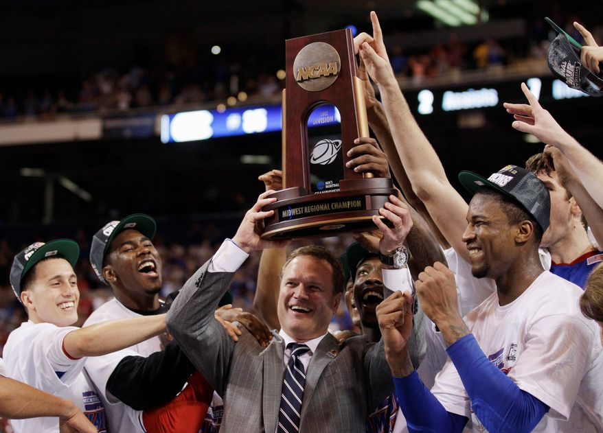 ASSOCIATED PRESS Kansas coach Bill Self could secure as much as $350,000 in incentives should the Jayhawks win the NCAA championship.