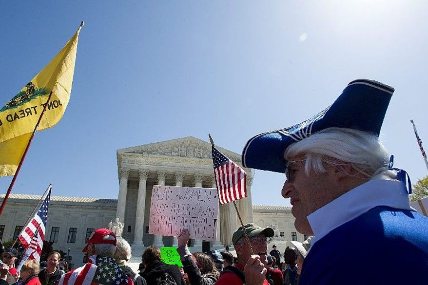 Demonstrators for and against President Obama's health care law march outside the Supreme Court on Tuesday. The Obama administration has argued Congress' taxing powers are a justification for the law's individual mandate. (Barbara L. Salisbury/The Washington Times)