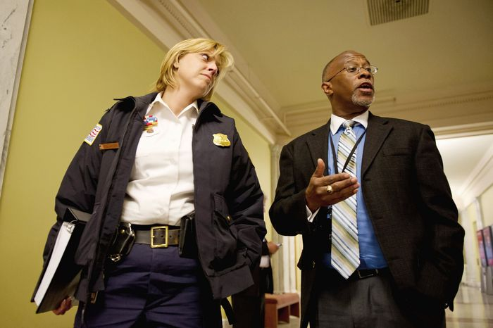 Metropolitan Police Department Chief Cathy L. Lanier and Paul Quander, the District's deputy mayor for public safety, gave testimony Tuesday to the D.C. Council on Mayor Vincent C. Gray's budget proposal for fiscal year 2013. (Andrew Harnik/The Washington Times)