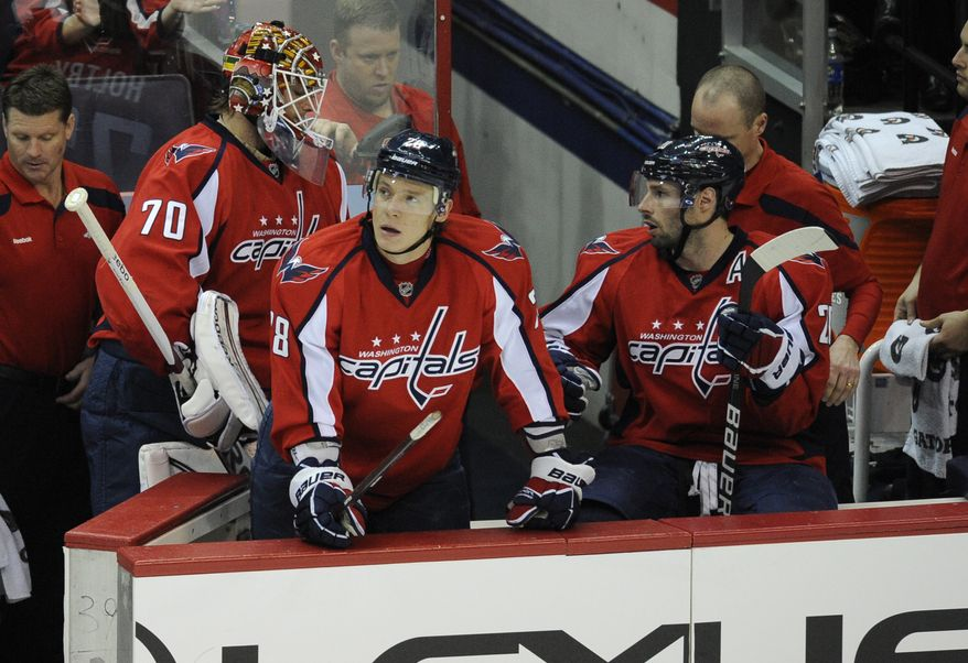 Washington Capitals goalie Braden Holtby (70) leaves the NHL game against the Buffalo Sabres after he gave up three goals during the second period, Tuesday, March 27, 2012, in Washington. (AP Photo/Nick Wass)