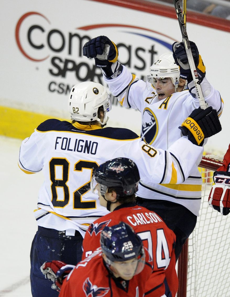 Buffalo Sabres right wing Drew Stafford (21) celebrates his goal with teammate Marcus Foligno (82) as Washington Capitals defenseman John Carlson (74) looks on during the first period, Tuesday, March 27, 2012, in Washington. (AP Photo/Nick Wass)