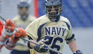 Pat Kiernan, a long stick midfielder, ranks third on Navy in groundballs with 26 despite missing two games with a broken bone in his hand. (Navy Athletics)
