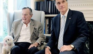 Former Massachusetts Gov. Mitt Romney (right), front-runner for the GOP presidential nod, seen here Dec. 1 with former President George H.W. Bush in Houston, will get Mr. Bush's formal endorsement Thursday.  (Associated Press)