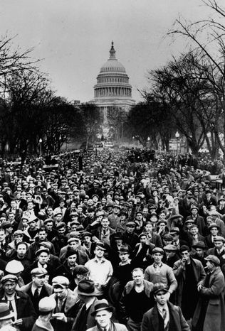 Thousands of unemployed workers marched in January 1932 from Pennsylvania to Washington to ask Congress and President Hoover for help.