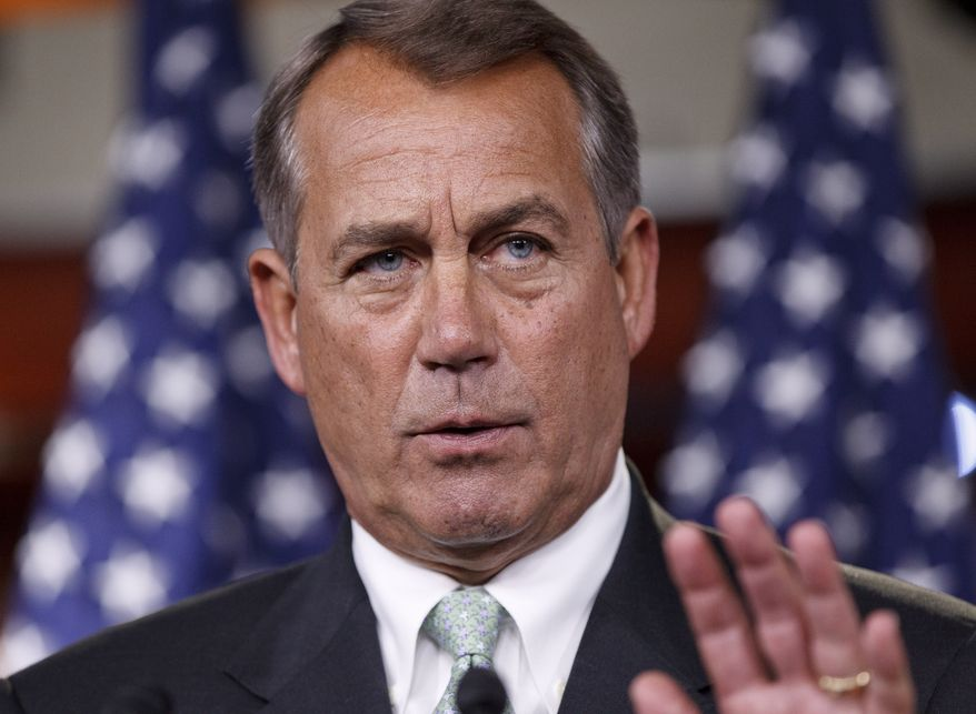 FILE - In this March 1, 2012, file photo House Speaker John Boehner of Ohio, talks to reporters on Capitol Hill in Washington. (AP Photo/J. Scott Applewhite, File)