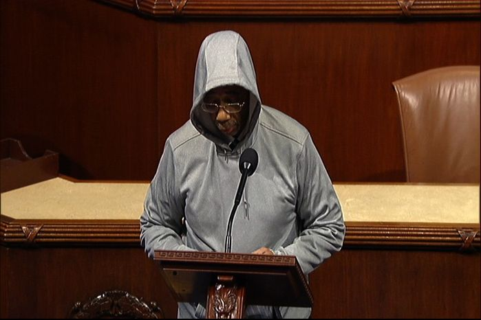 This handout frame grab from video, provided by House Television, shows Rep. Bobby Rush, an Illinois Democrat, wearing a hoodie on the floor of the House on Capitol Hill in Washington, Wednesday, March 28, 2012. (AP Photo/House Television)