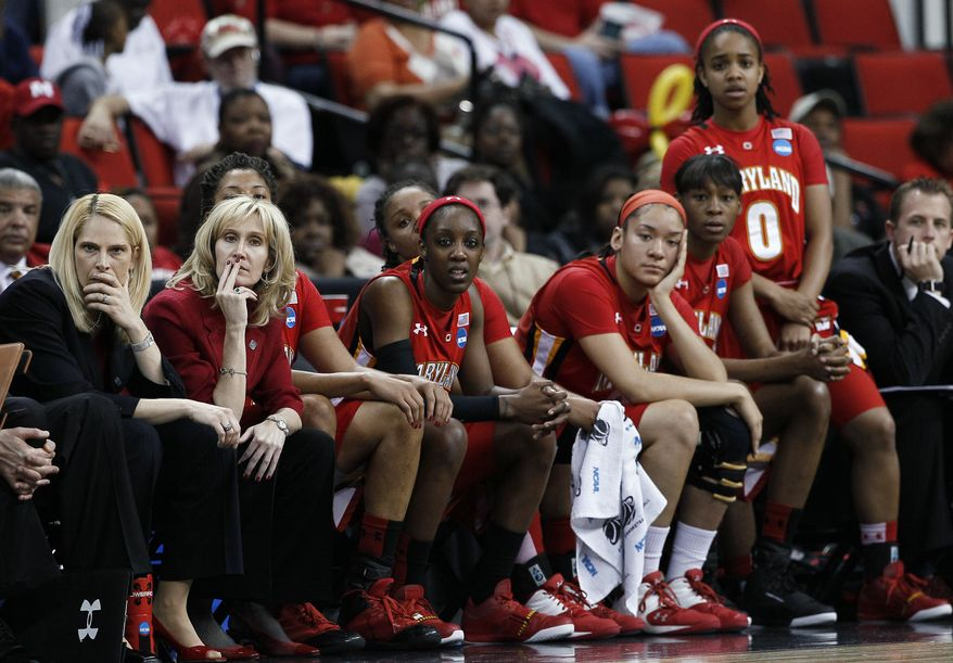 Maryland coach Brenda Frese, left, and others on the Maryland bench watch near the end of an NCAA women's tournament regional final against Notre Dame in Raleigh, N.C., on Tuesday, March 27, 2012. Notre Dame won 80-49 to advance to the Final Four. (AP Photo/Gerry Broome)