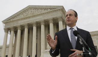 FILE: Paul Clement, a lawyer for 26 states seeking to have the Affordable Care Act tossed out, speaks to reporters in front of the Supreme Court at the end of arguments regarding the health care law signed by President Obama. March 28, 2012. (AP Photo/Charles Dharapak)